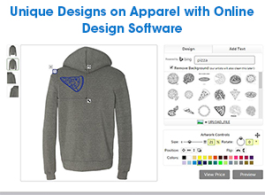 attractive and unique designs on apparel with online design software