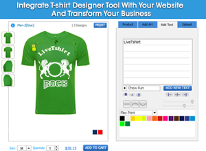 Integrate t-shirt designer tool with your website
